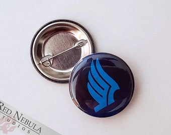 """Paragon Button, Magnet, or Keychain, 1.25"""", Mass Effect Paragon Pinback Button with Blue Wing Symbol"""