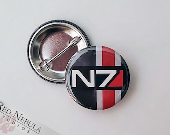 """N7 Button, Magnet, or Keychain, 1.25"""", Mass Effect Shepard Pinback Button in Grey, Red, Black, and White"""