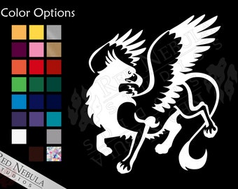 Griffon Vinyl Decal, Fantasy Creature Window Decal, Fairytale Gryphon or Griffin Outdoor Vinyl - Multiple Color and Holographic Options