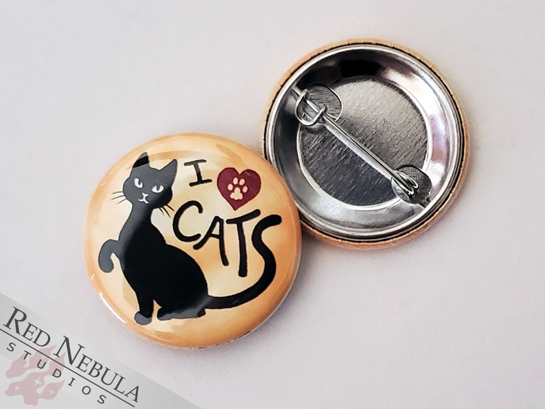 I Love Cats Pinback Button Magnet or Keychain 1.25 image 1