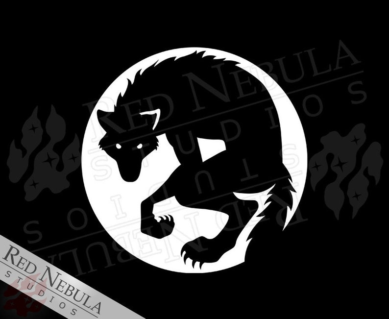 Werewolf Vinyl Decal with Anthro Wolf Silhouette Against the image 0