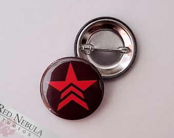 """Renegade Button, Magnet, or Keychain, 1.25"""", Mass Effect Renegade Pinback Button with Red Star Symbol"""