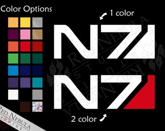 N7 Vinyl Decal, Mass Effect Car Decal with the N7 Logo - Multiple Color and Holographic Options