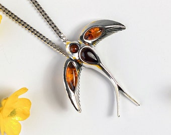 Swallow pendant silver jewelry Amber necklace Baltic Amber jewelry Swallow pendant in Sterling Silver gift Silver necklace