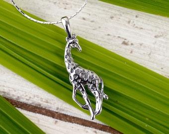 SILVER NECKLACE LARGE GIRAFFE /& CALF Design Charm Pendant Gift Bag
