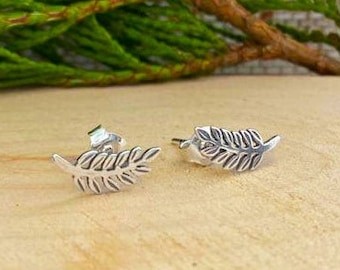 Silver Tiny Fern Earrings