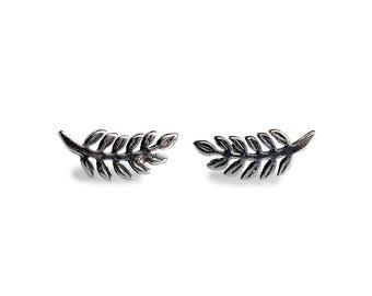 Silver Royal Fern Stud Earrings, Fern Leaf Earrings, Fern Stud Earrings