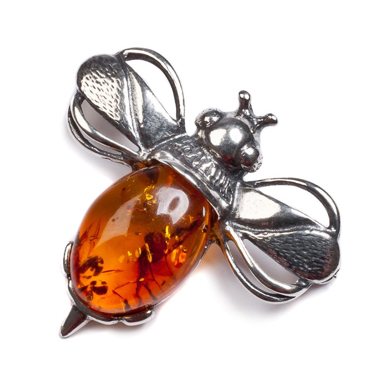 Silver Bumble Bee Brooch in Amber Statement Brooch Bee Gift Save the Bees Jewelry Honey Bee Jewelry Bumblebee Brooch