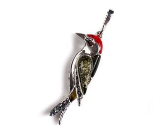 Henryka Amber, Silver & Coral Small Woodpecker Bird Necklace