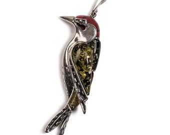Henryka Amber, Silver & Coral Woodpecker Bird Necklace