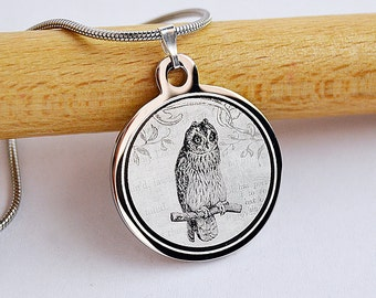 Personalised imitation amethyst owl necklace pendant in gift pouch BR449n
