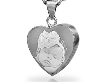 Photo Engraved Memorial Heart Pendant with Necklace, Stainless Steel Cremation Jewellery