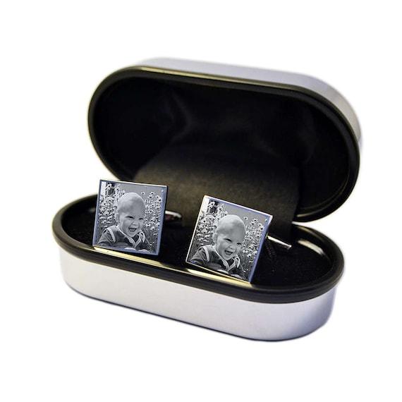 Grabado Gemelos con Piedra de Cristal en un estuche de Cromo Grabado Personalizado