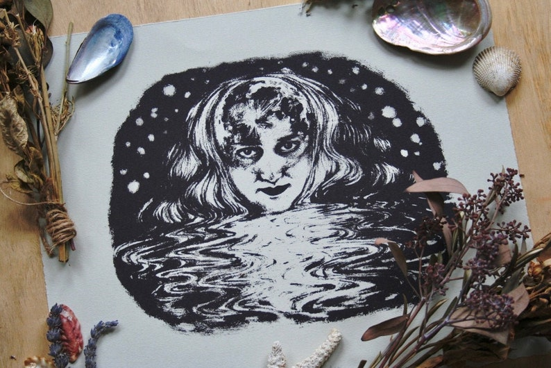 Commanding the Tides l Moon Goddess Screen Print image 0