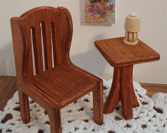 1:12 scale table and chair dollhouse furniture dollhouse table and chair set miniature furniture cherry stained wooden doll furniture
