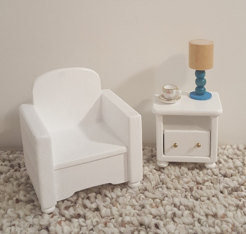White 1:12 scale chair doll house living room chair miniature chair for one inch scale dollhouse accent chair wooden doll furniture