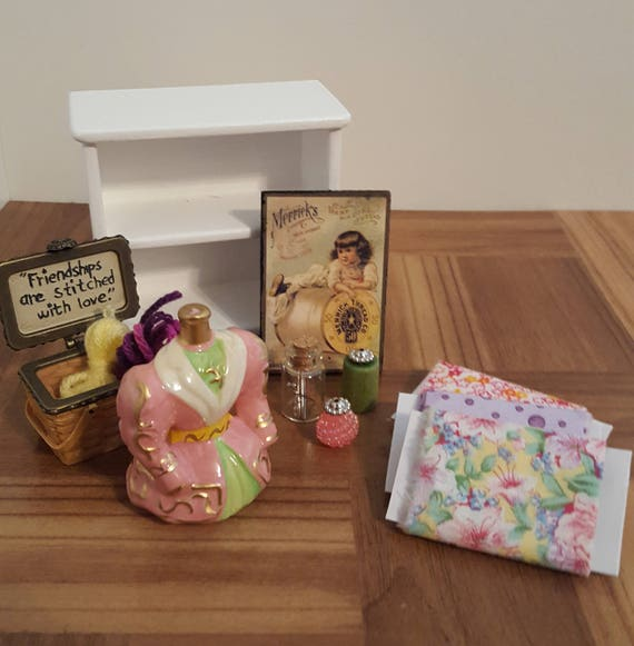Miniature Sewing Room Set Doll House Craft Room Sewing