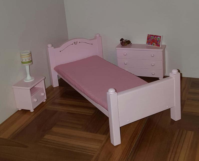 Pink Single Bed For Fashion Dolls With Foam Mattress/ 1:6 Scale Bed/  Playscale Bed/ Barbie Size Bed/ Dollhouse Bed/ Twin Bed/ Pink Bed