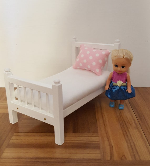 Cherry Stained Arched Headboard 1:12 scale Single Twin size doll bed dollhouse bedroom furniture miniature bed pillow foam mattress