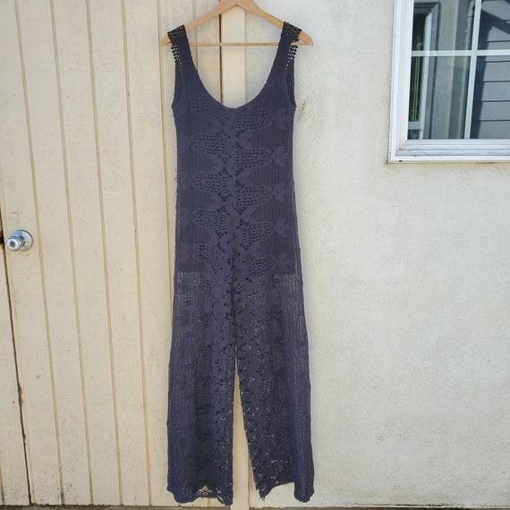 70s 60s Crochet Cotton Lace Black Jumpsuit // Flor