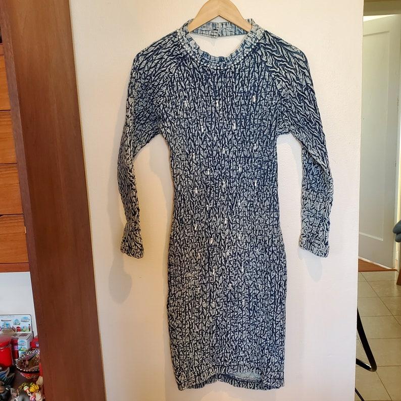 80s Acid Wash Faux Pearls Denim Wiggle Dress SIZE XS  XXS