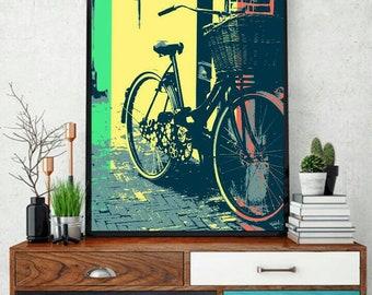 Cycle. Popart. Downloadable digital file. Digital prints.