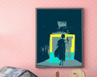Monk with Umbrella popart. Downloadable digital art. Digital print. Posters.