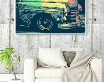 Vintage Car Popart. Downloadable digital file. Digital file.