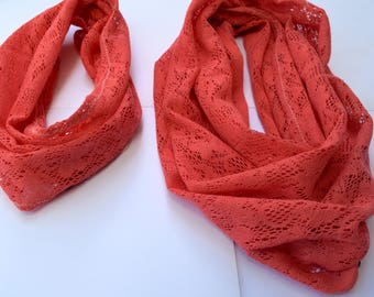 Coral Lace scarf, Infinity Scarf set, mommy and me scarf set