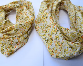 Floral Mustard scarf, Infinity Scarf set, mommy and me scarf set