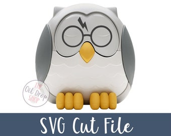 DIGITAL FILE | Harry Lightning Glasses Feather the Owl SVG Cut File to make Diffuser Decals