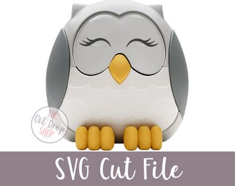 DIGITAL FILE | Fancy Lashes Feather the Owl SVG Cut File for Diffuser Decal