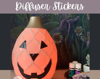 Buy More & Save || Jack-O-Lantern Desert Mist Diffuser Halloween YL Diffuser Sticker || Diffuser Decals ||  Essential Oil Diffuser Stickers