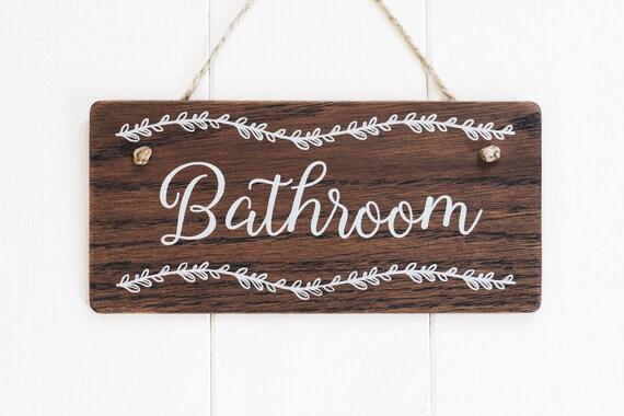 Bathroom Door Sign Wooden, Wooden Bathroom Signs