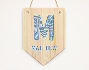 Wooden Name Banner, Personalized Banner, Custom Name Banner, Kids Door Sign, Baby Name Banner, Nursery Door Sign, Baby Shower Gift