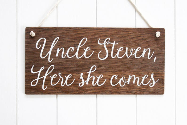 Uncle Here She Comes Page Boy Sign Ring Bearer Sign image 0