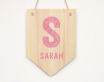 Personalized Wooden Name Banner Kids Door Sign Wall Art Decor Bedroom/ Nursery Door Sign Kids Room