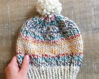 Multi-Colored Beanie with PomPom, Handknit Beanie, Hand Knit Winter Hat, Knit Hat, Knit Beanie