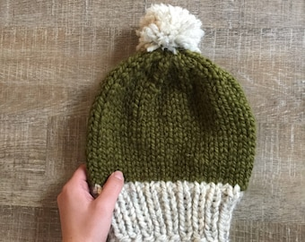 Two-Tone Beanie with PomPom, Handknit Beanie, Hand Knit Winter Hat, Knit Hat, Knit Beanie in Green, Ready to Ship