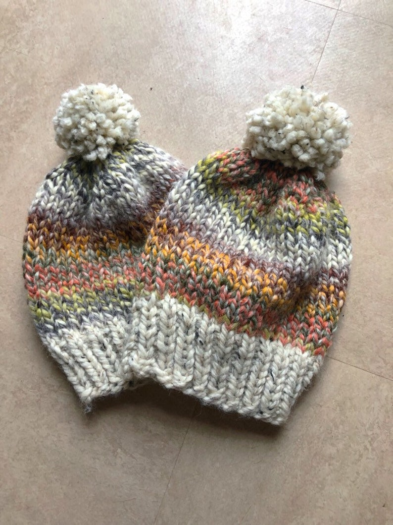 Multi-Colored Beanie with PomPom-Neutral Knit Beanie Handknit Beanie Knit Hat Hand Knit Winter Hat