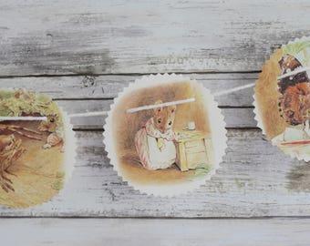 Vintage Beatrix Potter 'Miss Tittle Mouse' Paper Bunting Banner Pennant Garland