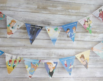 Cinderella Paper Bunting Banner Pennant Garland Nursery Baby Shower Party