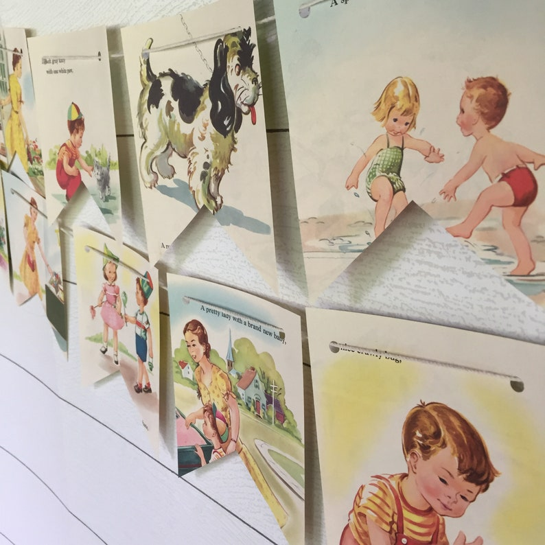 Vintage Children Mother Book Bunting Banner Garland Pennant