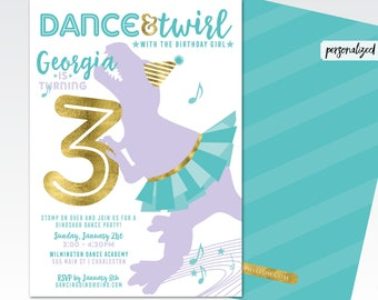 dancing birthday invitations, dancing invitation, dancing dinosaur invitation, dancing dinosaur party,  dinosaur birthday invitation