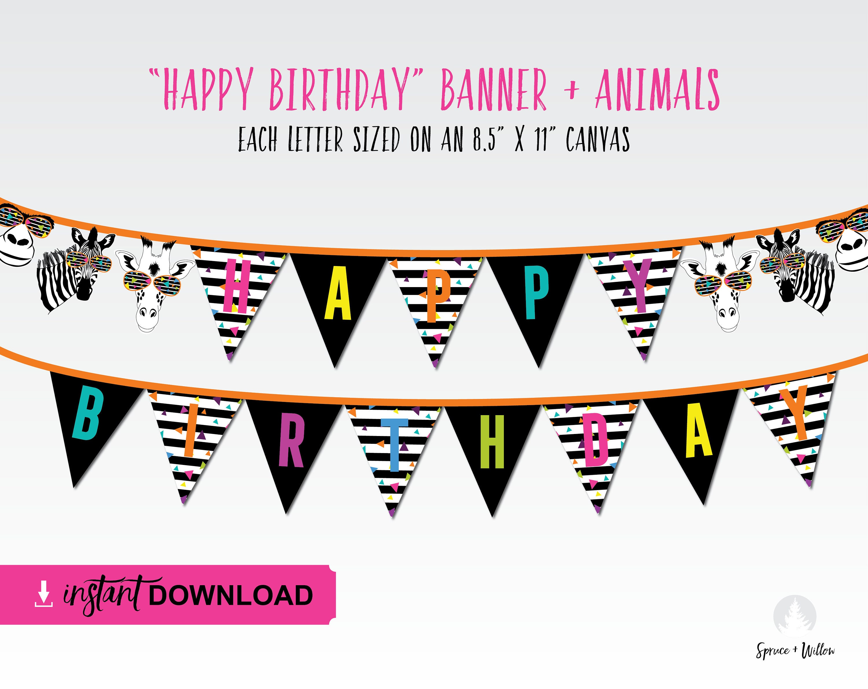 instant download party animals banner zoo banner happy | Etsy