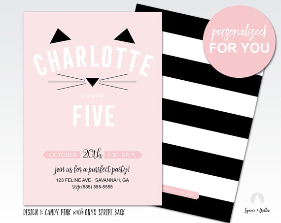 invitation danniversaire kitty invitation anniversaire etsy. Black Bedroom Furniture Sets. Home Design Ideas
