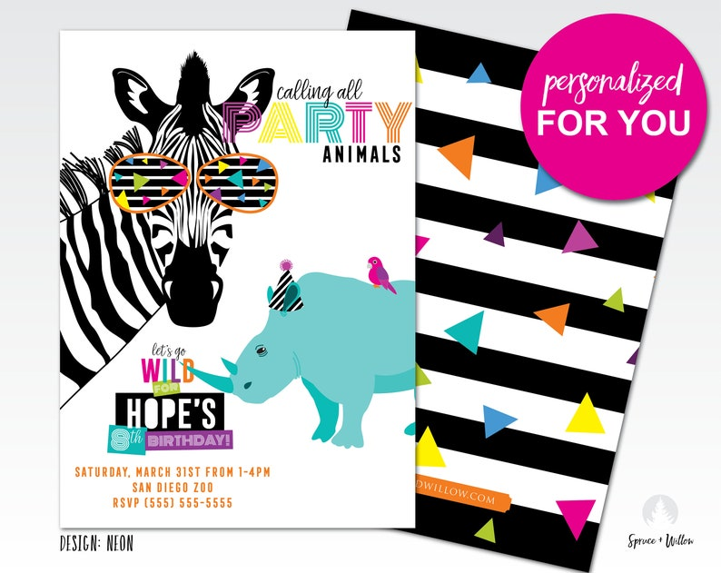 party animal birthday invitation party animal invitation zoo image 0