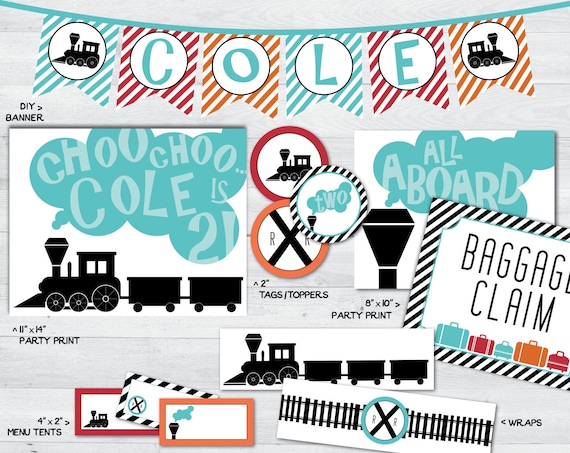 Train Party Printables Decorations Package Signs Banner Decor