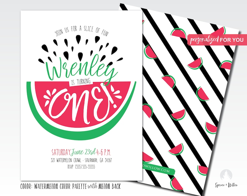 one in a melon invitation sweet celebration watermelon one image 0
