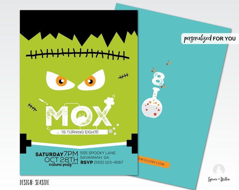 frankenstein birthday invitation halloween birthday image 0